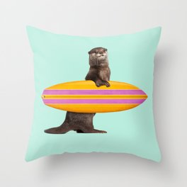 SURFING OTTER Throw Pillow