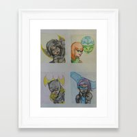 dc comics Framed Art Prints featuring DC: Batgirls by aka-noodle