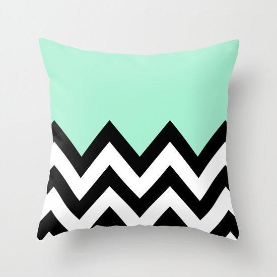 MINT GREEN COLORBLOCK CHEVRON Throw Pillow
