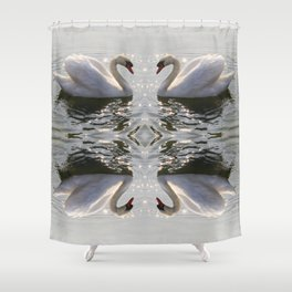 four swans a swimming Shower Curtain