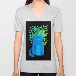 Cat and foliage - blue, green and black background Unisex V-Neck