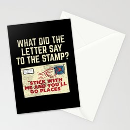 What Did The Letter Say To The Stamp Stick With And You'll Go Places Stationery Cards