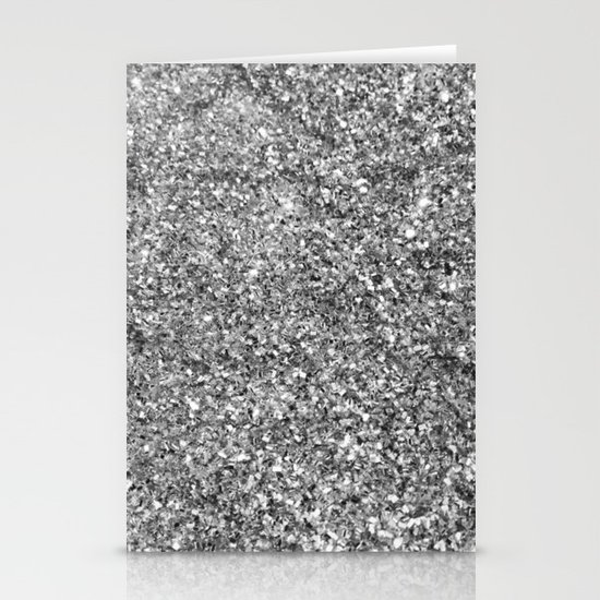 SILVER GLITTER Stationery Cards