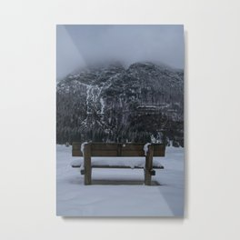 Lone Bench At Lago del Predil Italy Metal Print