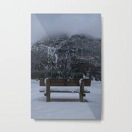 Lone Bench At Lago del Predil Italy Metal Print