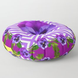 ABSTRACT YELLOW  CONTEMPORARY LILAC PURPLE PANSIES Floor Pillow