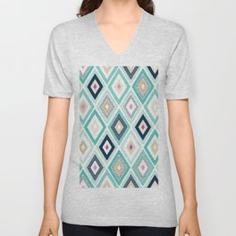 Seamless dots doodle rhombus colorful pattern Unisex V-Neck