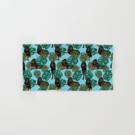 Tropical Black and Tan Coonhounds Hand & Bath Towel
