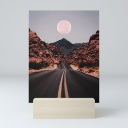 Road Red Moon Mini Art Print
