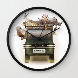 African Safari Animals in Jeep Wall Clock