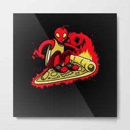 Skateboard Pizza Skateboarding Motif Metal Print