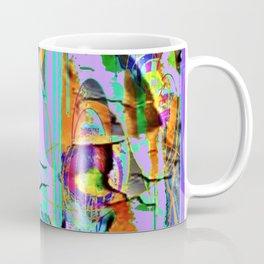 LILAC SHABBY CHIC PEELING PEACOCK WALLPAPER DESIGN FAUX Coffee Mug