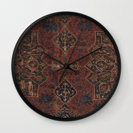 Boho Chic Dark VI // 17th Century Colorful Medallion Red Blue Green Brown Ornate Accent Rug Pattern Wall Clock