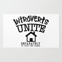 psychology Area & Throw Rugs featuring Introverts Unite! by Rendra Sy