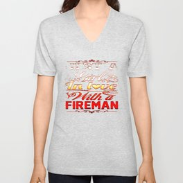 In love with a Fireman Unisex V-Neck