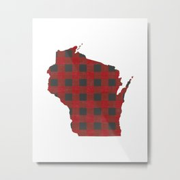 Wisconsin Plaid in Red Metal Print