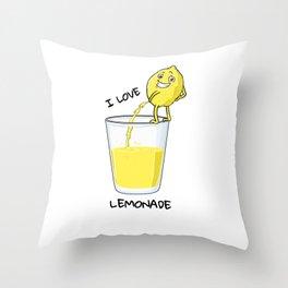 I love Lemonade shirt funny lemon peeing in glass Throw Pillow