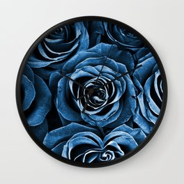 Rose Bouquet in Blue Wall Clock
