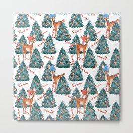 Christmas Fawns and Trees Metal Print