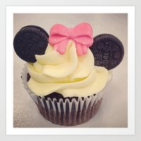minnie mouse Art Prints featuring Minnie Mouse Cupcake by Loulabelle