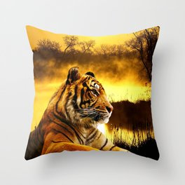 Tiger and Sunset Throw Pillow