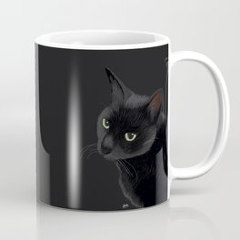 Black cat in the dark Coffee Mug