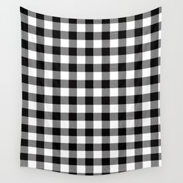 90's Buffalo Check Plaid in Black and White Wall Tapestry