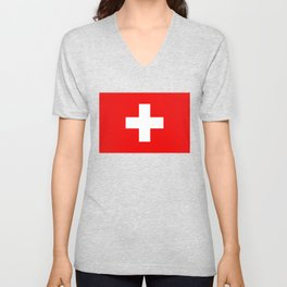Flag of Switzerland - Authentic (High Quality Image) Unisex V-Neck