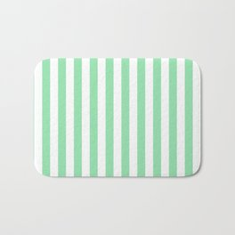 Large Mint Green and White Vertical Cabana Tent Stripes Bath Mat