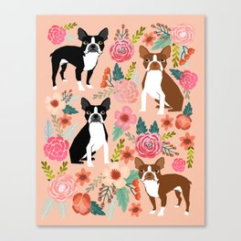 Boston Terrier cute floral pattern spring summer happy pet portrait dog person gift must haves dogs Canvas Print