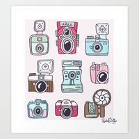cameras Art Prints featuring Cameras by Rachel White