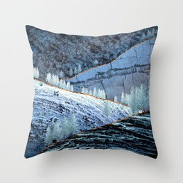 Sunrise in the blue hills Throw Pillow