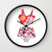 selena Wall Clocks featuring Red Swimming suit High waisted bikini art illustration fashion fashion by Wit + Wander