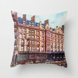Vintage St Enoch railway station hotel Glasgow Throw Pillow