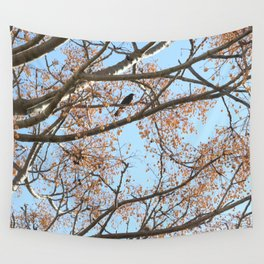 Rowan tree branches with berries and bird Wall Tapestry