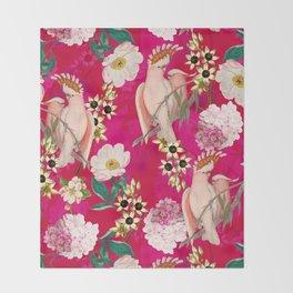 Vintage & Shabby Chic - Tropical Bird Flower Garden Throw Blanket