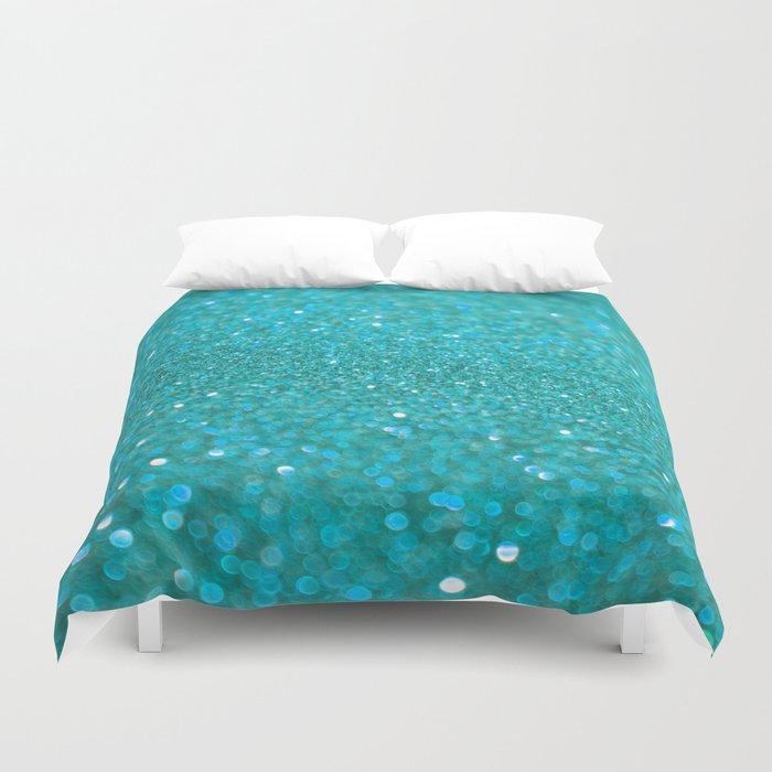 Bright Turquoise Glitter Duvet Cover