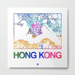 Hong Kong Watercolor Street Map Metal Print