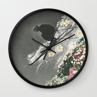 skiing Wall Clocks featuring Spring Skiing by Sarah Eisenlohr