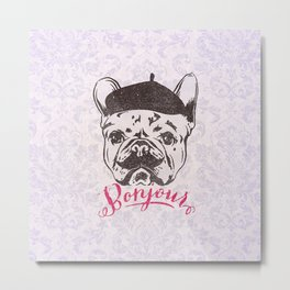 Funny Mustache French Bulldog Sketch Typography Metal Print