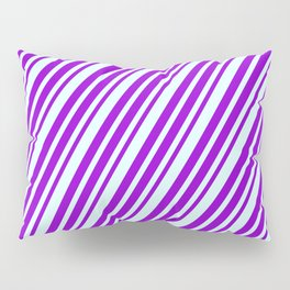 Dark Violet and Light Cyan Colored Lines Pattern Pillow Sham