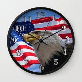 American Flag and Bald Eagle Wall Clock