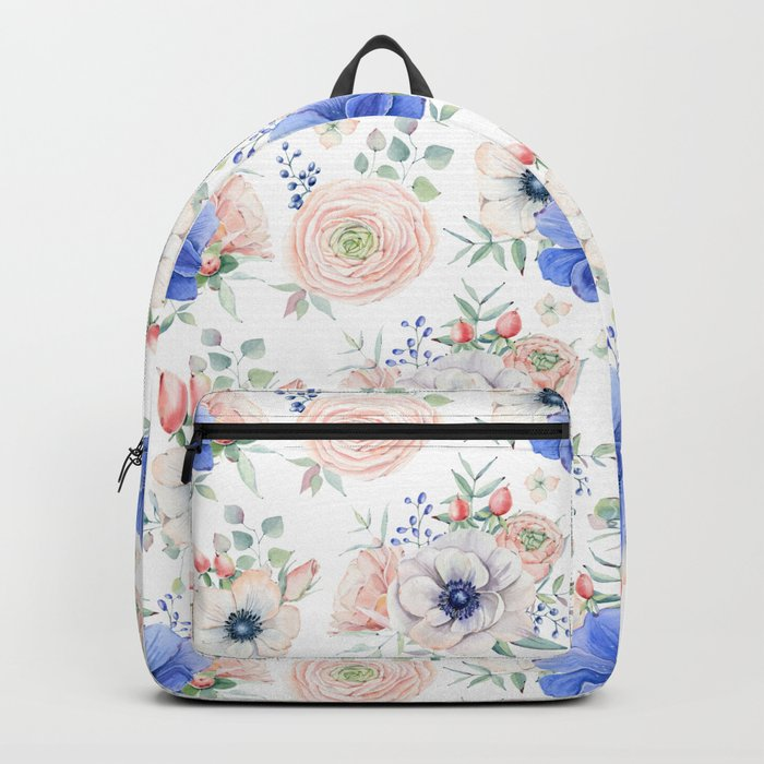 Blue + Pink Garden Floral Backpack