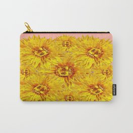 Golden Topaz Gems Sunflowers Pink & Coral Abstract Carry-All Pouch