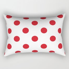 Polka Dots - Fire Engine Red on White Rectangular Pillow