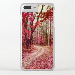 Red, Rust and Orange Ethereal Forest Path Clear iPhone Case