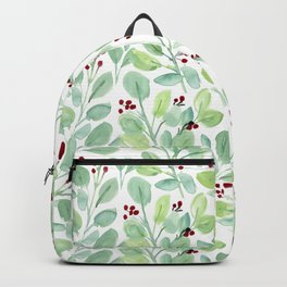 Watercolor Holiday Greenery Pattern Backpack