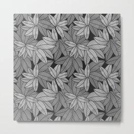 Black & White Leaves By Everett Co Metal Print