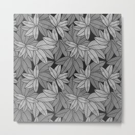 Black & White Leaves By Everett Co Metal Print