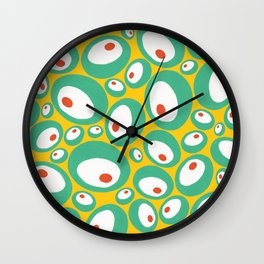Mint and Orange spots on yellow Wall Clock